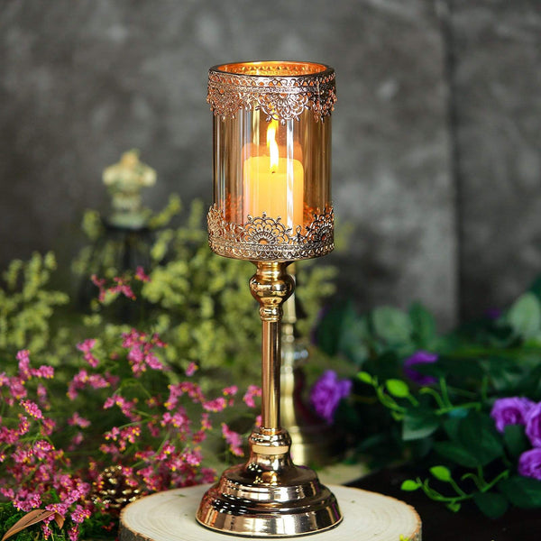 Gold 15 in tall Metal with Lacy Trim Glass Candle Holder Centerpiece