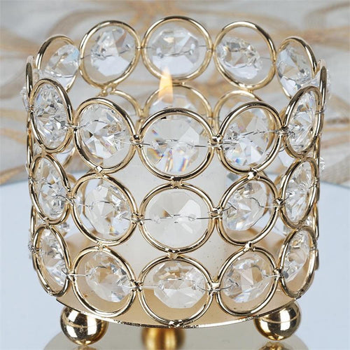 "Gold 2.75"" tall Crystal Candle Holder Centerpiece"