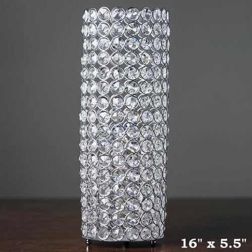 "Silver 16"" tall Faux Crystal Beaded Cylinder Shaped Candle Holder"