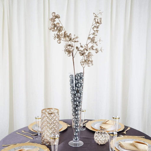 "2 pcs 32"" tall Champagne Glittered Leaves Stems Sprays"