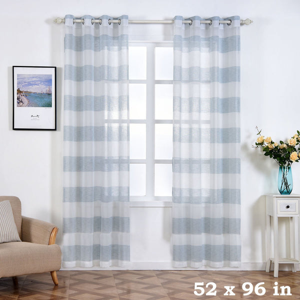 "2 pcs 52"" x 96"" White and Blue Faux Linen Sheer Stripe Window Curtains Drapes Panels"