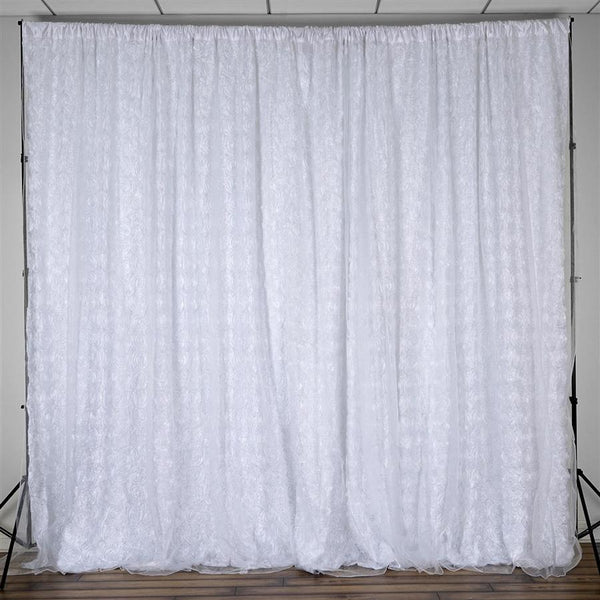 20 ft x 10 ft Ribbon Roses Backdrop - White