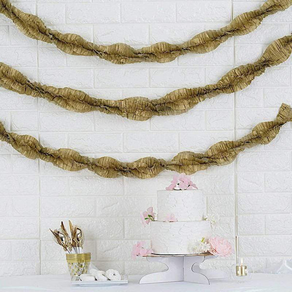 "3"" x 28 ft Extra Long Gold Ruffled Tissue Paper Garlands"