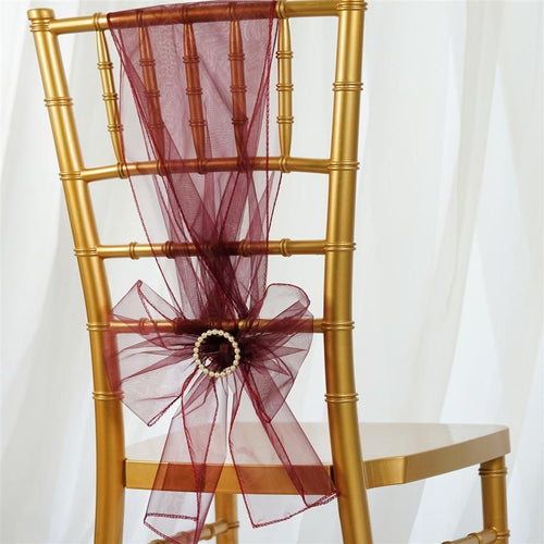 5 pcs Burgundy Organza Chair Sashes