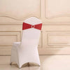 5 pcs Red Spandex Chair Sashes with Silver Round Buckle