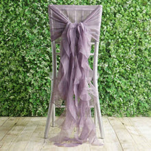 Amethyst Premium Curly Chiffon Chair Cover Cap with Sashes