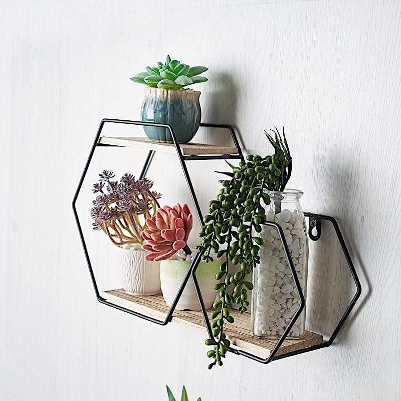 Black and Natural 2 Tier Hexagon Metal with Wood Geometric Floating Shelf