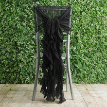 Black Premium Curly Chiffon Chair Cover Cap with Sashes