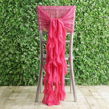 Fuchsia Premium Curly Chiffon Chair Cover Cap with Sashes