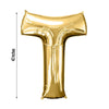 "Gold 40"" tall Letter T Aluminum Foil Balloon"