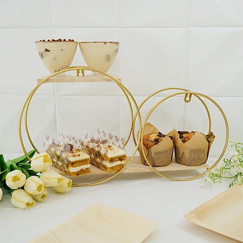 Gold and Natural 2 Tier Round Metal with Wood Geometric Floating Shelf