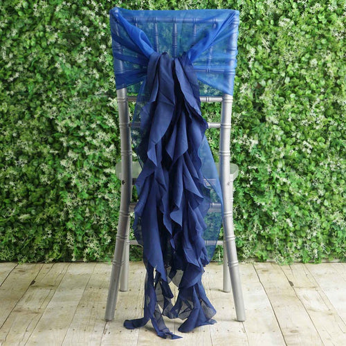 Royal Blue Premium Curly Chiffon Chair Cover Cap with Sashes