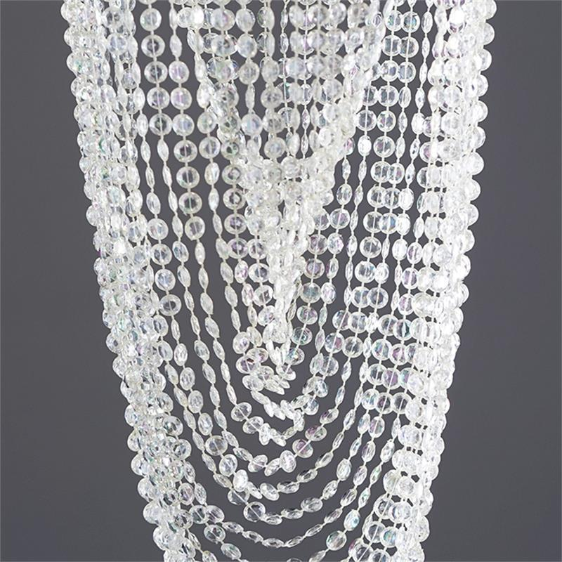 "Silver 30"" long Faux Crystal Beaded Centerpiece"