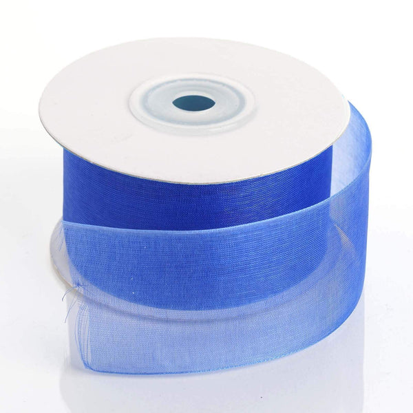 1.5 inch x 25 yards Royal Blue Mono Edge Organza Ribbon