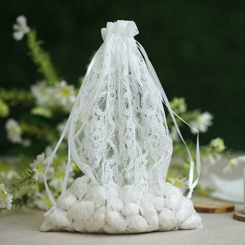 "10 White 6x9"" Floral Lace Favor Bags with Pull String"