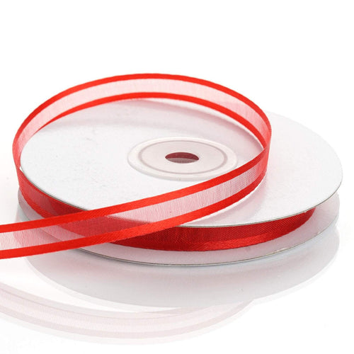 3/8 inch x 25 yards Red Sheer Organza Ribbon with Satin Edges