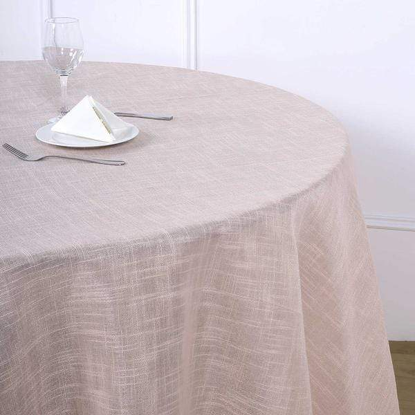 120 in Blush Round Premium Polyester Faux Burlap Tablecloth