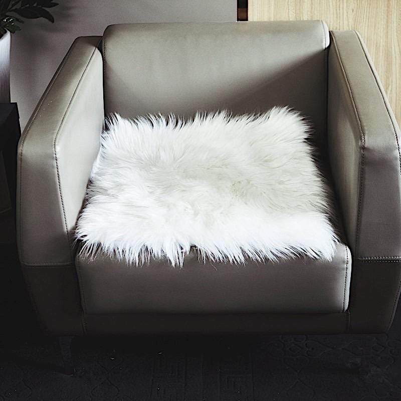 20x20 in White Faux Fur Throw Sheepskin Rug Chair Cushion