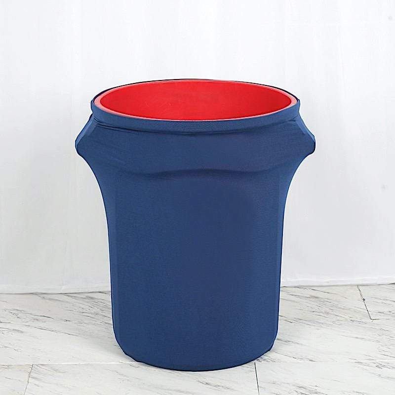 41-50 gallons Navy Blue Round Stretchable Spandex Trash Can Cover