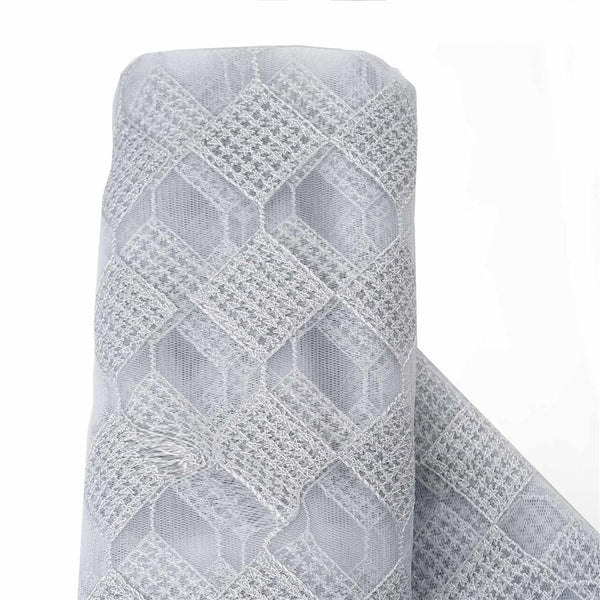 54 inch x 4 yards Silver Checkerboard with Silver Thread Fabric Bolt