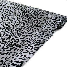 "54"" x 10 yards Black and Silver Leopard Safari Animal Print Fabric"
