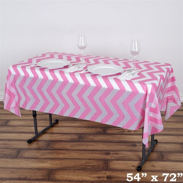 54x72 inch Pink Chevron Disposable Plastic Table Cover Tablecloth