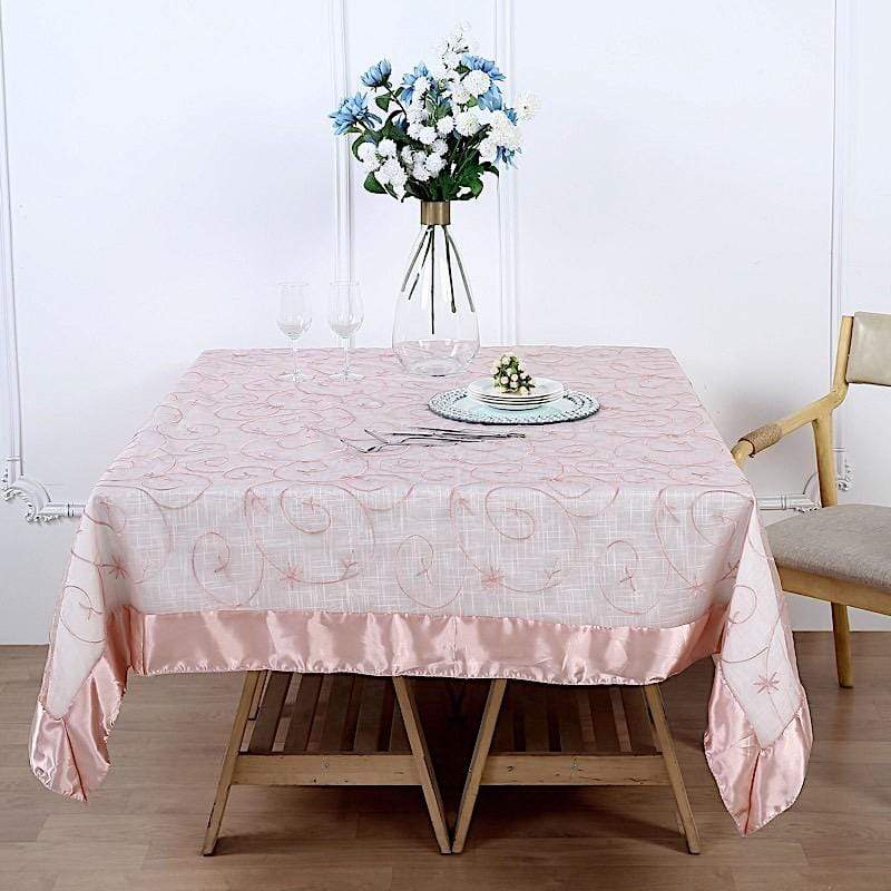 72 inch Dusty Rose Embroidered Organza Table Overlay with Satin Edges