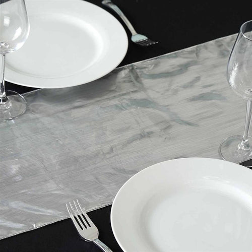 Metallic Silver Shiny Tissue Lame Table Runner
