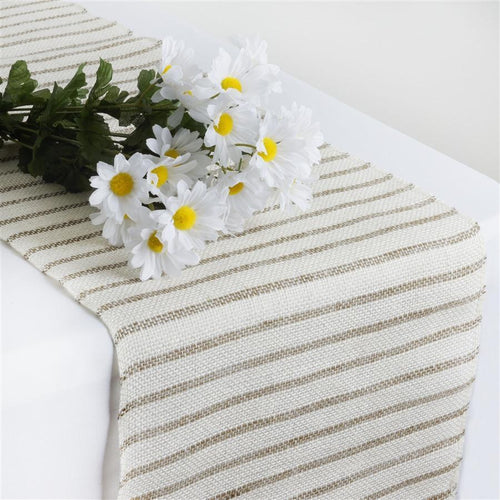 Natural Stripes on Off White Burlap Table Runner