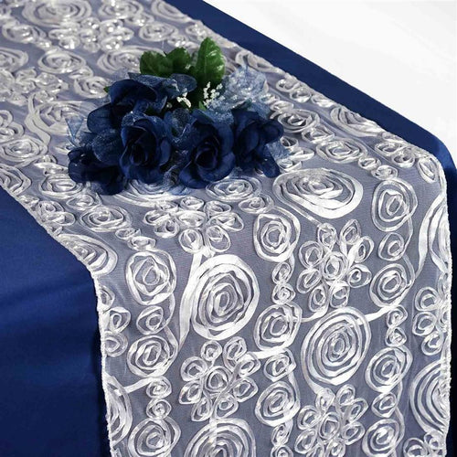 Silver Raised Roses Lace Table Runner