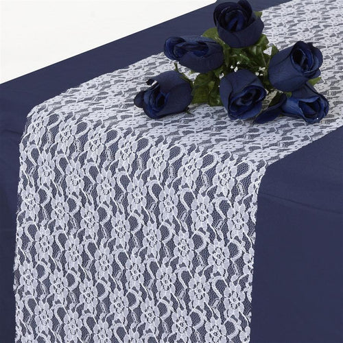 White Floral Pattern Lace Table Runner