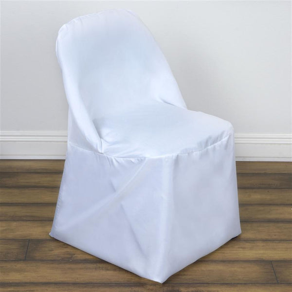 White Folding Round Polyester Fabric Chair Cover