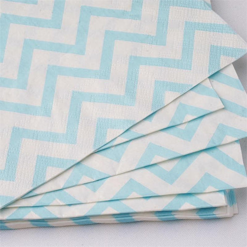 20 White and Light Blue Chevron Paper Lunch Napkins