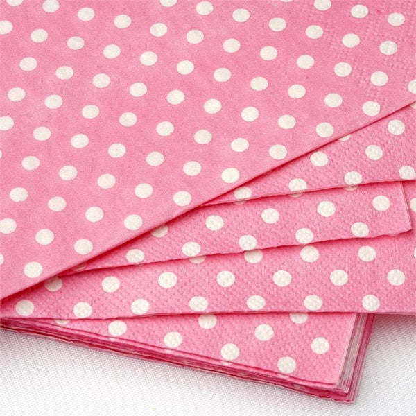20 White Mini Polka Dots on Pink Paper Lunch Napkins