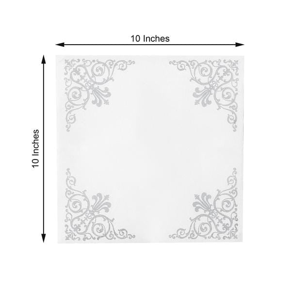 20 White with Silver 10x10 in Metallic Fleur Design Paper Cocktail Napkins