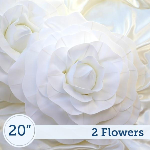 "2 20"" wide White Foam Large Roses for Flower Walls"