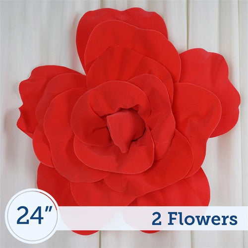 "2 24"" wide Red Foam Giant Roses for Flower Walls"