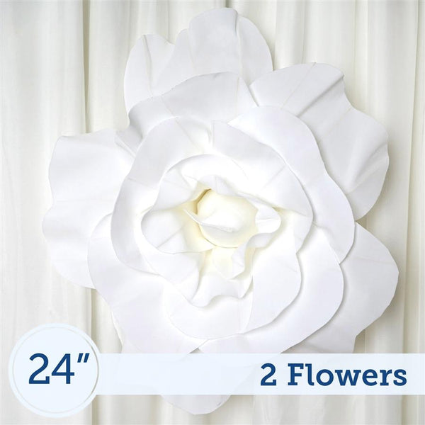 "2 24"" wide White Foam Giant Roses for Flower Walls"