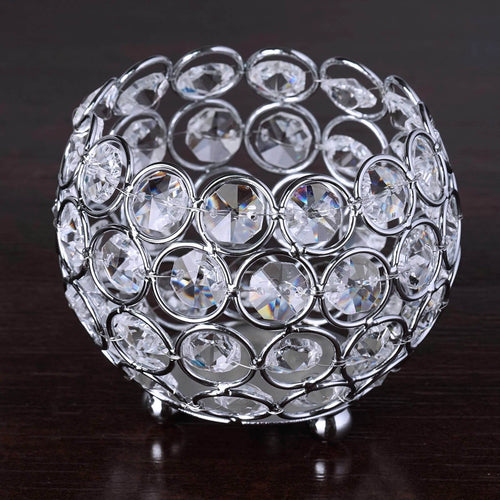 "Silver 4"" tall Tealight Votive Crystal Beaded Round Candle Holder"