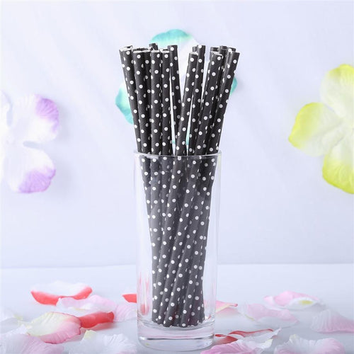 "25 pcs 7.75"" Black and White Mini Polka Dot Paper Straws"
