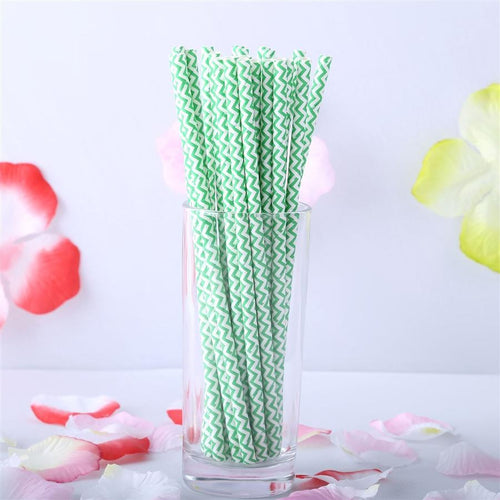 "25 pcs 7.75"" Green and White Chevron Paper Straws"