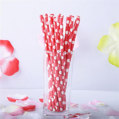 "25 pcs 7.75"" Red and White Polka Dot Paper Straws"