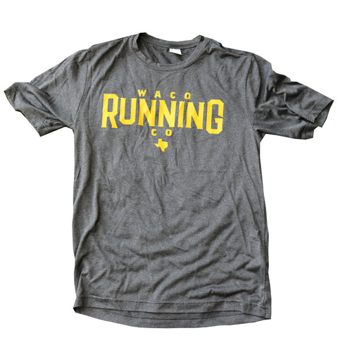 Waco Running Company Tech Shirt - Slate / Yellow