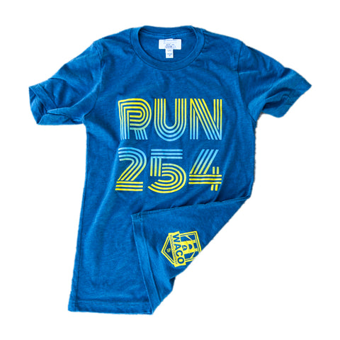WRC Run 254 Tee - BLUE / YELLOW FADE