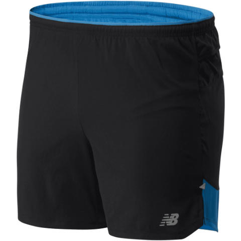 "Men's New Balance Impact Run 5"" Short - Blue / Black"