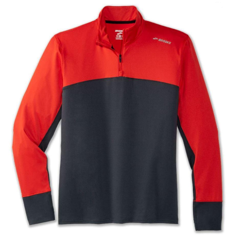 Men's Brooks Dash 1/2 Zip - Asphalt / Lava