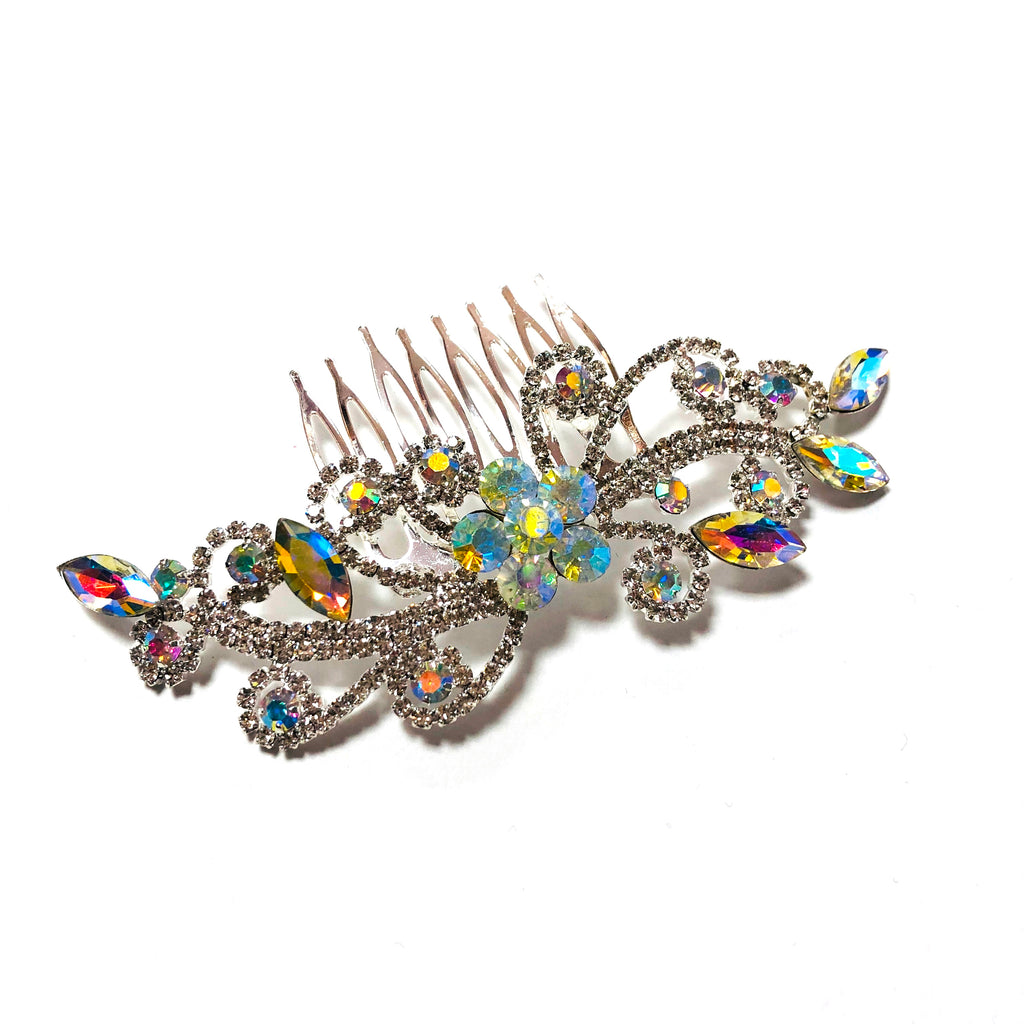 FH2 Floral Crystal Hair Comb