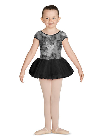 Mirella Girls Scoop Neck Printed Cap Sleeve Leotard