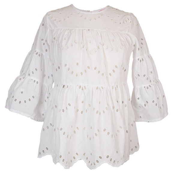 SS Lace Top: White