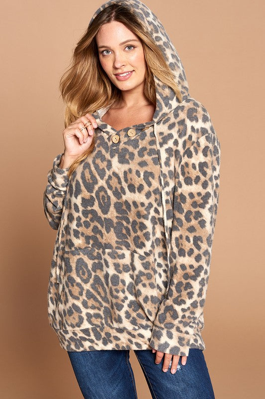 Movin' On Leopard Curvy Hoodie